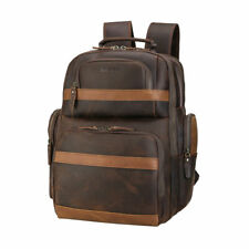 "Retro Herren Leder Rucksack Reise Wandern Schultasche 16"" Laptop Tasche Backpack"