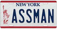 Seinfeld Kramer's Impala ASSMAN Movie Replica Prop License Plate Auto ATV Bike