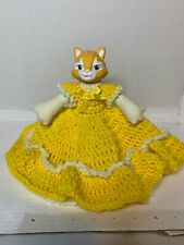 Vintage Cat Air freshener Cover In Yellow Hand Made Crochet Dress