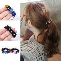 Women Girls Cute Hair Band Rope Elastic Ponytail Holder Flower 2Pcs Ring Fashion