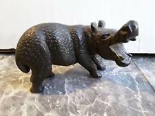 Vtg Hippopotamus Solid Wood Hippo Black Hand-Carved Sculpture Figurine African