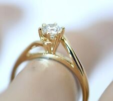 18K Solid Gold Ring With Natural Diamonds Engagement Ring Size 5
