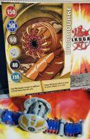 "Bakugan Gray Haos ""Wormquake"" 440G  Battle Brawler +Gold Gate Card"