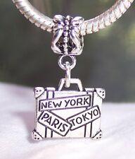 Paris New York Tokyo Luggage Suitcase Dangle Bead for European Charm Bracelets