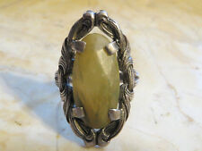 Exquisite Victorian Ribbon Scroll Ring with Jade Sterling Silver Size 5.5