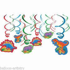 12 Prehistoric Dino Dinosaur Children's Party Hanging Cutout Swirls Decorations