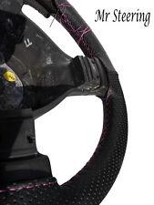Para Toyota Prius Mk3 Real De Cuero Perforado cubierta del volante pespunte rosa