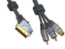 Scart Plug To 2x RCA Phono Male Plugs and SVHS Male Plug Lead 1.5m, Gold Plated