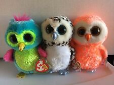 """Ty Beanie Boo Owls OPAL, LUCY & CORA 6"""" Justice Exclusives MWMTS"""