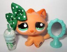 ❤Littlest Pet Shop #2603 MANDARIN Orange Tabby Cat Variant ❤ Custom w Starbucks