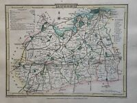 1808 Surrey Original Antique Hand Coloured County Map by Cole & Roper