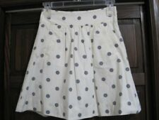 J Crew 0 cotton skirt off white winter gray polk a dots pockets