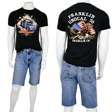 1980's Vintage S M Truckers Only 3D Emblem Vintage T-Shirt Franklin Unocal TN