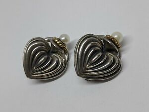 """1"""" LAGOS CAVIAR Sterling Silver 18k Yellow Gold Fluted Heart Earrings w/ Pearls"""