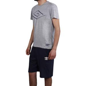 Schlafanzug Herren Umbro 2 Stücke Baumwolle Shorts Blau T-Shirt Halb Hülse Grau