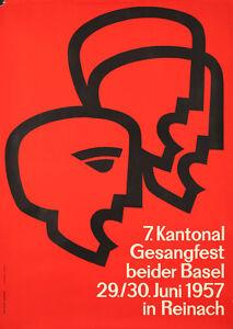 Original Vintage Poster Swiss Concert Chorus Singing Hanspeter Schmidt 1957 Song