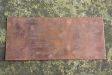 ANTIQUE COPPER CHEMIST PRINTING PLATE -OLD CHATEAU BRANDY NOT IN REVERSE