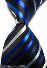 New Classic Stripes Black Blue White JACQUARD WOVEN 100% Silk Men's Tie Necktie