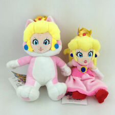2X Princess Peach Normal Cat Form Super Mario Bros Plush Toy Stuffed Animal 8""