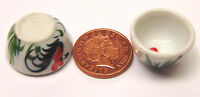 1:12 Scale 2 Ceramic Bowls With A Cockerel Motif Dolls House Food Accessory C43