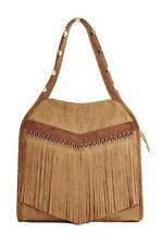 Steve Madden Purse Gibson Front Fringe Hobo Bag Zipper Closure Tan Handbag Women