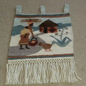 Vintage Tapestry Woven Wool Fabric Wall Hanging  Life Art African Lady Boho