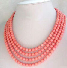 Fashion 4 Rows 6mm Pink Red Coral 18KWGP Clasp Women Girl Sweater Chain Necklace