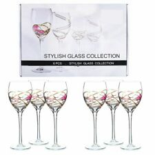6Pcs Box-packed Handcrafted and Painted Wine Glasses Gifts Birthday Wedding