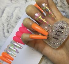 Neon Rainbow Butterflies False Fake Extra Long Ballerina Nails Set