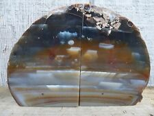 Brown Agate Geode Bookends, Crystal, Decor, 4+ lbs, Handmade, Rock, Stone