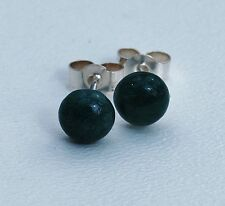 Green Moss Agate 6mm Cabochon Cut Gemstones set on Sterling Silver Posts.