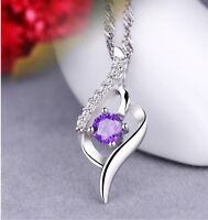 925 Sterling Silver Amethyst Crystal Angel Wing Pendant Necklace Chain Gift J6