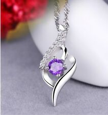 925 Sterling Silver Amethyst Crystal Angel Wing Pendant Necklace Chain Box J8