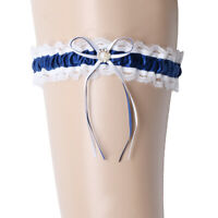 Blue Satin Lace Wedding Bridal Garter with Ribbon Bow Party Accessories