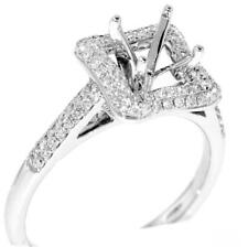 Halo Engagement Ring Setting VS1 Diamond 0.60ct 18k White Gold