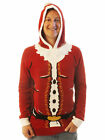 Ugly Christmas Sweater Men's Fat Santa With Pop Out Beard Hooded Sweatshirt