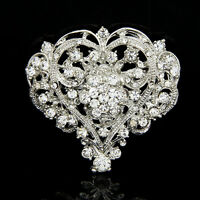 Cute Heart Shape Lady Girl Rhinestone Brooch Huge Size Wedding Party Brooch Pin