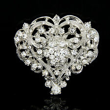 9Cute Heart Shape Lady Girl Rhinestone Brooch Huge Size Wedding Party Brooch Pin