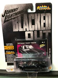 1/64 JOHNNY LIGHTNING BLACK OUT 1973 PONTIAC FIREBIRD TRANS AM & GREY STRIPE