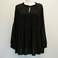 Charter Club Womens Top Keyhole Neck Long Sleeve Pleated Blouse Black L $89