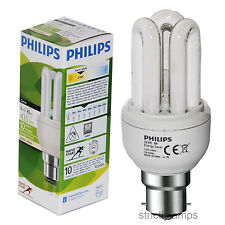 Philips  Genie 8W Energy Saving Light Bulbs B22 BC Bayonet Cap Pack Of 10 New