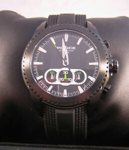 POLICE TAZER WATCH BLACK CHRONOGRAPH 12076 BNIB GENUINE