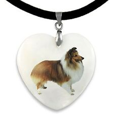 Shetland Sheepdog Natural Mother Of Pearl Heart Pendant Necklace Chain PP170