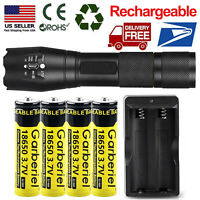 T6 LED Flashlight +4x 18650 Battery Li-ion 3.7V Rechargeable Batteries For Torch