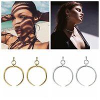 1 Pair Fashion Simple Bohemian Women Crescent Hoop Drop Earrings Jewelry New