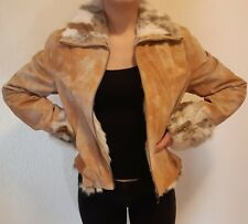 wie neu Vera Pelle  Lederjacke Fell Gr. L Damen Leather Jacket Pelz Kragen