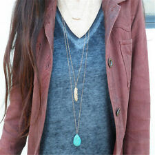 Boho Three Layers Leaf Pendant Choker Necklace Turquoise Link Chain Jewelry