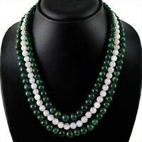 577.50 CTS NATURAL 3 LINE GREEN JADE & PINK ROSE QUARTZ ROUND BEADS NECKLACE