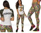 ZUMBA Nation 2Pc.Set! Mashed Up Long Leggings +Camo Army Football Tee-EliteZWear