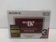 Sony DVM63HD Digital VideoCassette MiniDV 3 Pack Full HD Video HDV 1080 JAPAN